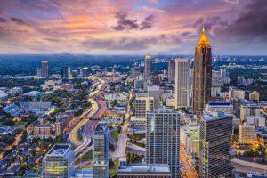 Atlanta, GA, from above as dusk settles.