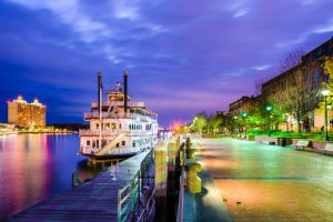 The riverfront promenade in Savannah, GA, at twilight is one of the most beautiful places in the city.